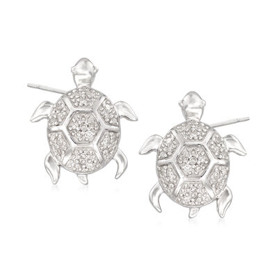.13 ct. t.w. Diamond Turtle Earrings in Sterling Silver, , default
