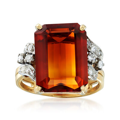 C. 1940 Vintage 5.35 Carat Citrine and .15 ct. t.w. Diamond Ring in 18kt Yellow Gold, , default