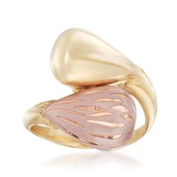 Italian 14kt Two-Tone Gold Bypass Ring With Pink Enamel. Size 7.5, , default