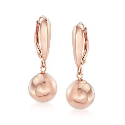 10mm 14kt Rose Gold Bead Drop Earrings, , default