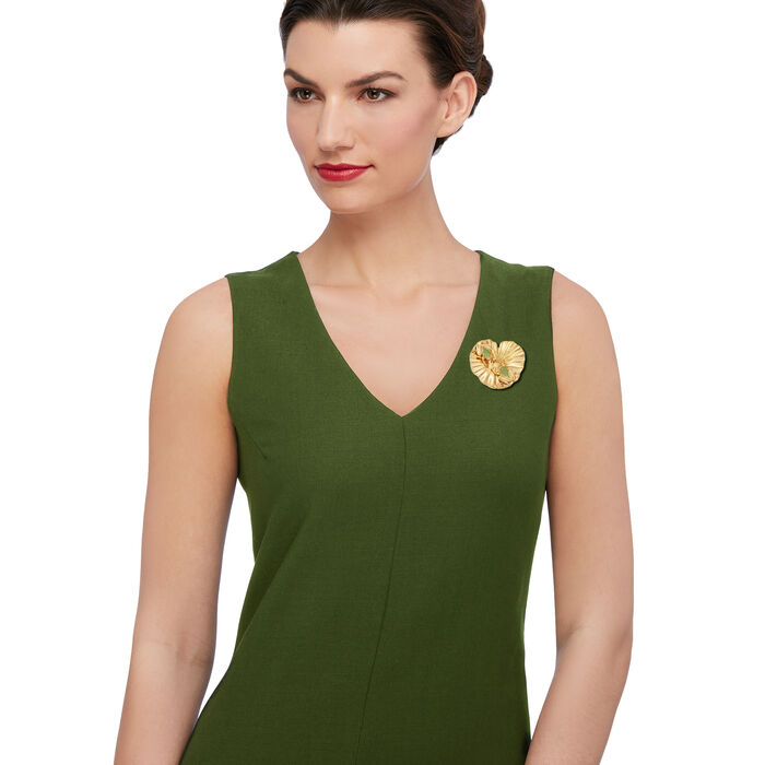 Italian .55 ct. t.w. Green CZ Frog and Lily Pad Pin Pendant in 18kt Gold Over Sterling, , default