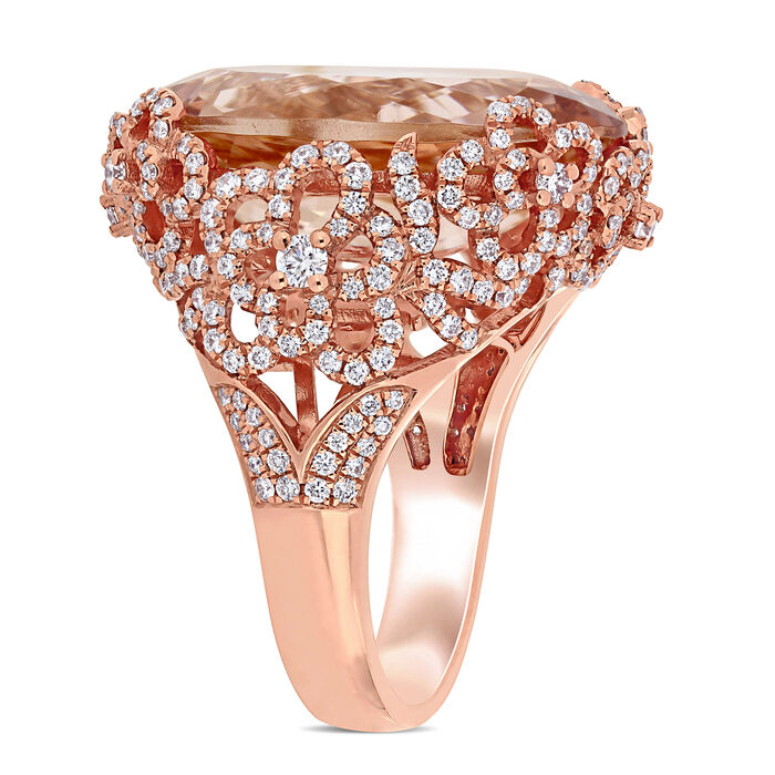 16.00 Carat Morganite and .63 ct. t.w. Diamond Cocktail Ring in 14kt Rose Gold