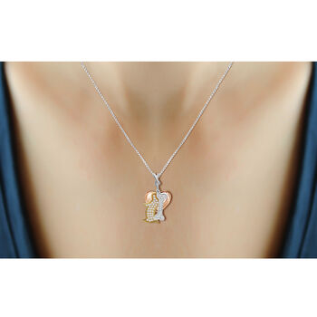.33 ct. t.w. Diamond Dog Charm Necklace in Tri-Colored Sterling Silver, , default