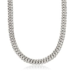 Italian Sterling Silver Double Circle-Link Necklace, , default