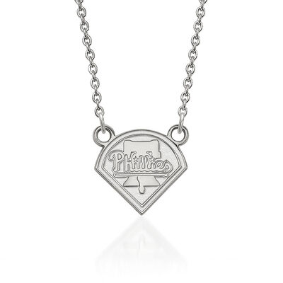 "Sterling Silver MLB Philadelphia Phillies Pendant Necklace. 18"", , default"