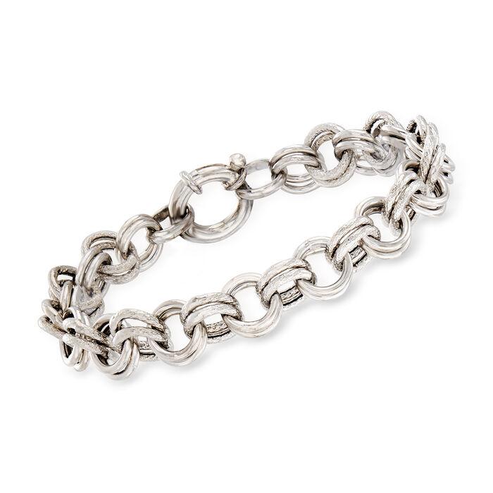 Italian Sterling Silver Double-Circle Link Bracelet