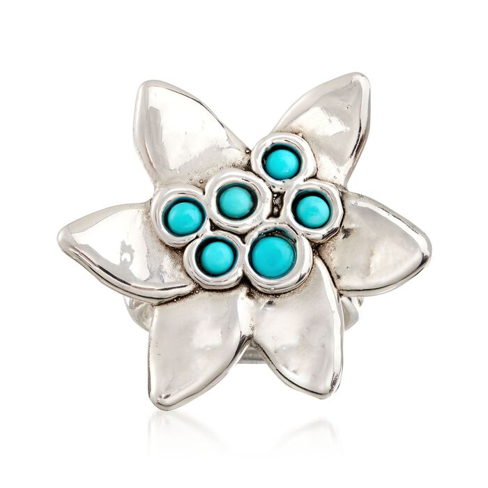 Sterling Silver and Turquoise Flower Ring, , default