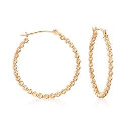 "14kt Yellow Gold Beaded Hoop Earrings. 1"", , default"