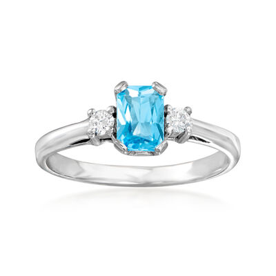 C. 1990 Vintage .60 Carat Blue Topaz and .10 ct. t.w. Diamond Ring in 14kt White Gold, , default