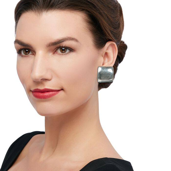 Sterling Silver Large Square Clip-On Earrings