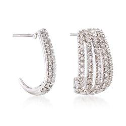 """.50 ct. t.w. Diamond J-Hoop Earrings in Sterling Silver. 5/8"""", , default"""