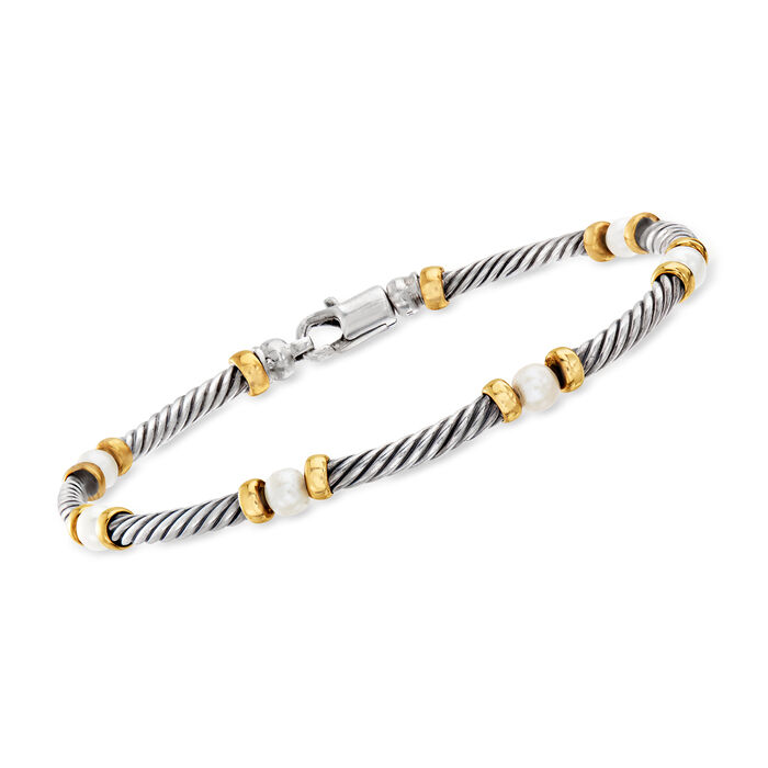 """C. 1990 Vintage David Yurman 4mm Cultured Pearl  Bracelet in Sterling Silver and 14kt Yellow Gold. 7"""""""