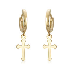 "14kt Yellow Gold Small Hoop Earrings With Dangle Cross. 3/4"", , default"
