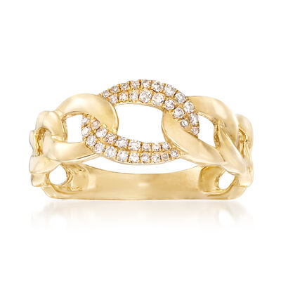 .14 ct. t.w. Pave Diamond Link Ring in 14kt Yellow Gold, , default