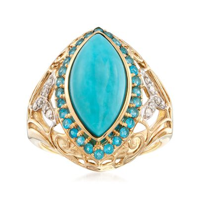 Turquoise and .80 ct. t.w. Apatite Ring with Diamond Accents in 14kt Yellow Gold, , default
