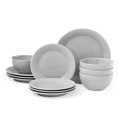 "Kate Spade New York ""Willow Drive"" 12-pc. Grey Ceramic Dinnerware Set, , default"