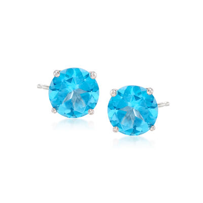 2.80 ct. t.w. Blue Topaz Post Earrings in 14kt White Gold, , default