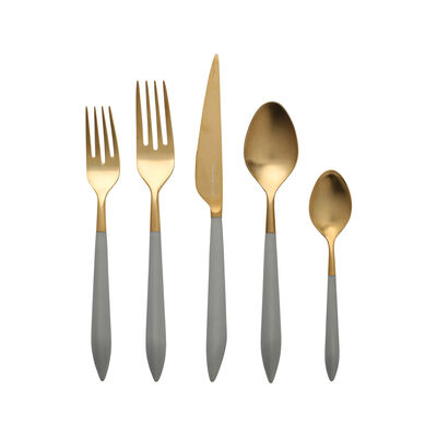 """Vietri """"Ares Oro"""" Light Gray 5-pc. 18/10 Stainless Steel Place Setting from Italy"""