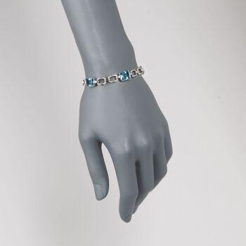 """C. 1990 Vintage 14.10 ct. t.w. Aquamarine and .85 ct. t.w. Diamond Bracelet in Platinum. 6.75"""", , default"""