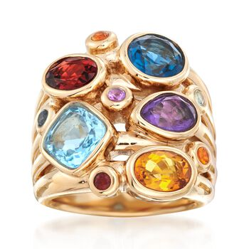 5.30 ct. t.w. Multi-Stone Ring in 14kt Yellow Gold, , default