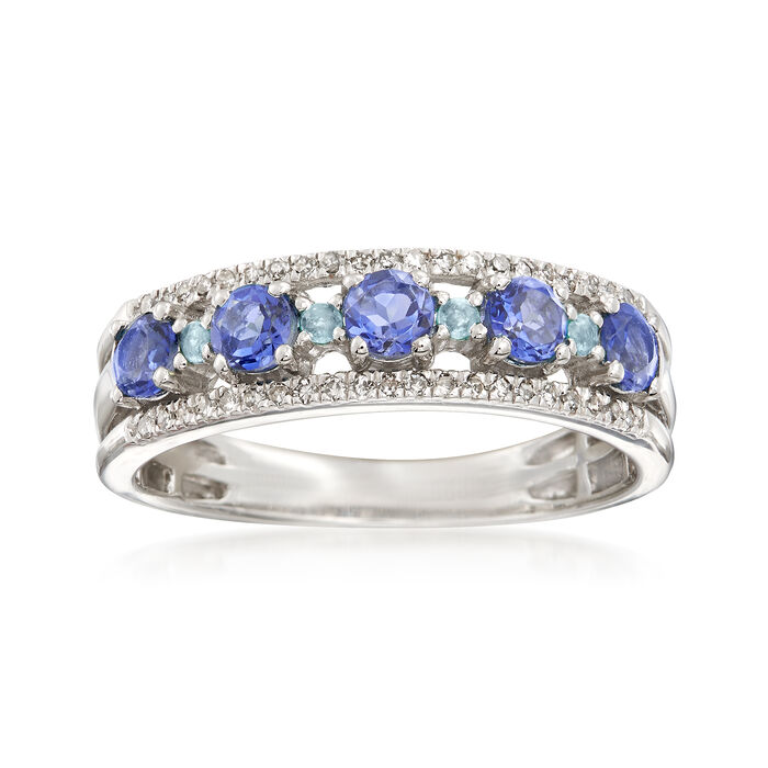 .50 ct. t.w. Tanzanite and .13 ct. t.w. Diamond Ring with Swiss Blue Topaz Accents in Sterling. Size 5, , default