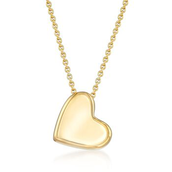 "Italian 18kt Gold Over Sterling Silver Sideways Heart Necklace. 18"", , default"