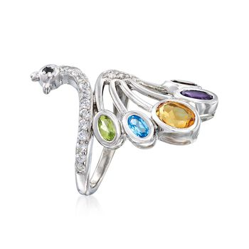 2.65 ct. t.w. Multi-Stone Peacock Ring in Sterling Silver, , default