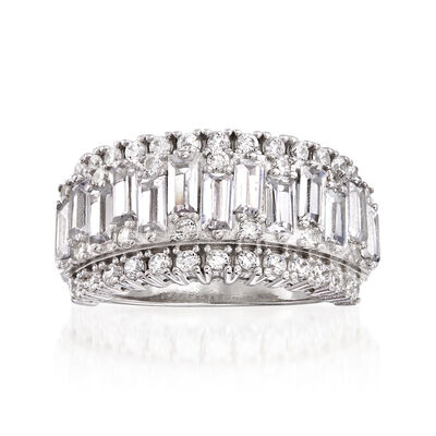 2.38 ct. t.w. Baguette and Round CZ Ring in Sterling Silver, , default