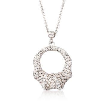 "Italian Sterling Silver Diamond-Cut Open Oval Pendant Necklace. 18"", , default"