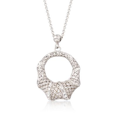 Italian Sterling Silver Diamond-Cut Open Oval Pendant Necklace, , default
