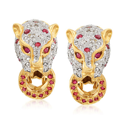 C. 1980 Vintage 1.20 ct. t.w. Ruby and 1.00 ct. t.w. Diamond Panther Earrings in 18kt Yellow Gold, , default