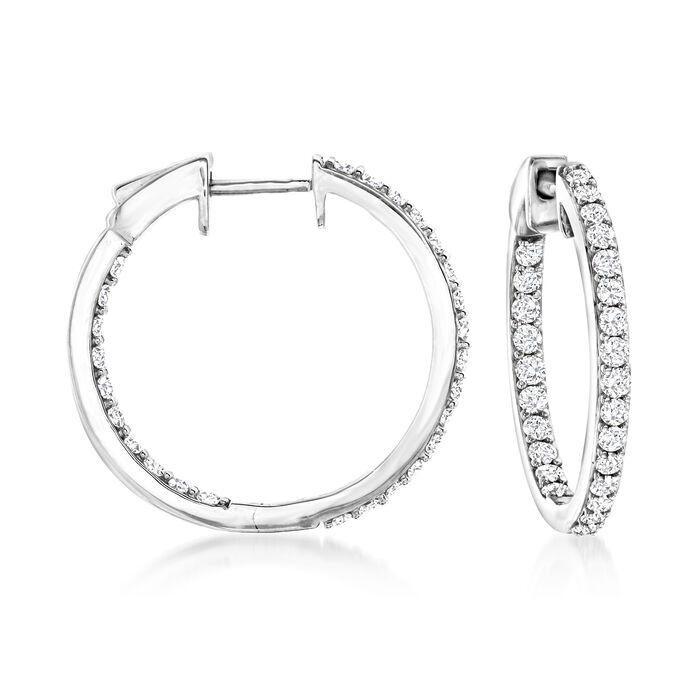 1.00 ct. t.w. Diamond Inside-Outside Hoop Earrings in 14kt White Gold
