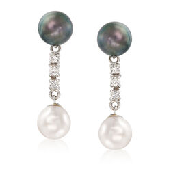 C. 2000 Vintage 8mm Black and White Cultured Pearl and .30 ct. t.w. Diamond Drop Earrings in 14kt White Gold, , default
