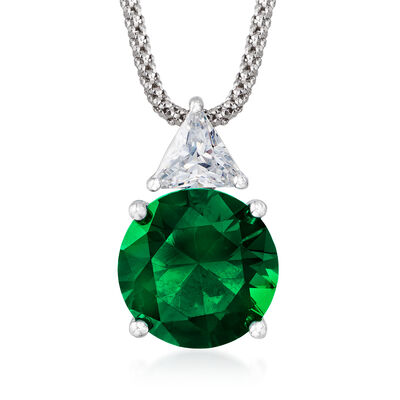 6.10 Carat Simulated Emerald and .75 Carat CZ Pendant Necklace in Sterling Silver, , default