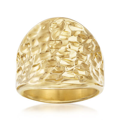 Italian Andiamo 14kt Yellow Gold Concave Ring, , default
