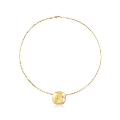 Round Slide Omega Pendant Necklace in 14kt Yellow Gold, , default