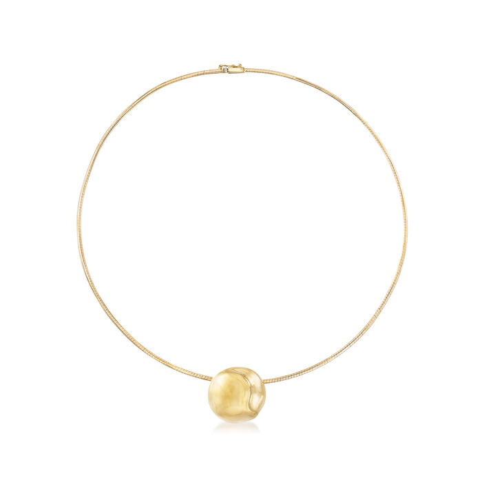 """Round Slide Omega Pendant Necklace in 14kt Yellow Gold. 18"""", , default"""