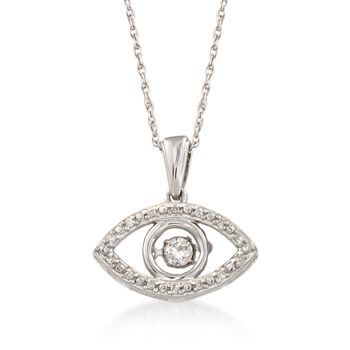 """Diamond Accent Evil Eye Pendant Necklace in Sterling Silver. 18"""", , default"""