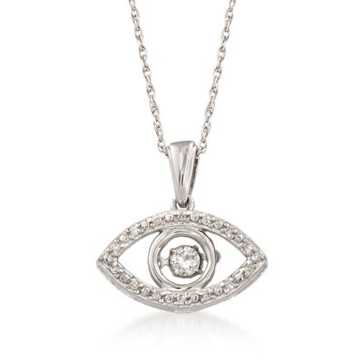 Diamond Accent Evil Eye Pendant Necklace in Sterling Silver, , default