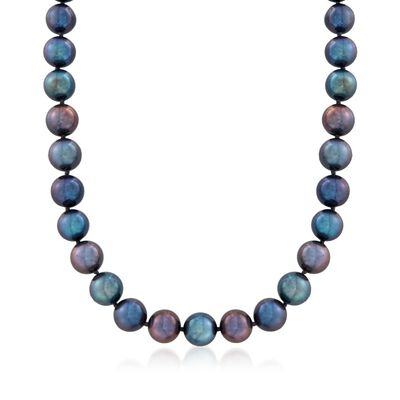 9-10mm Black Cultured Pearl Necklace with 14kt White Gold