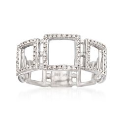 .26 ct. t.w. Diamond Open Square Ring in 14kt White Gold. Size 7, , default