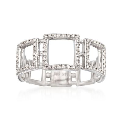 .26 ct. t.w. Diamond Open Square Ring in 14kt White Gold, , default