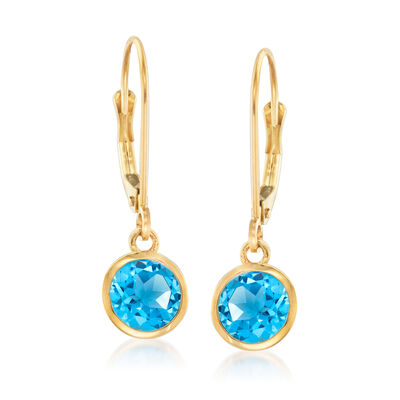 1.50 ct. t.w. Swiss Blue Topaz Drop Earrings in 14kt Yellow Gold