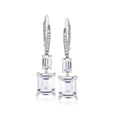 9.16 ct. t.w. CZ Drop Earrings in Sterling Silver, , default