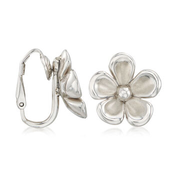Sterling Silver Flower Clip-On Earrings, , default