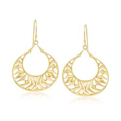 18kt Gold Over Sterling Openwork Drop Earrings, , default