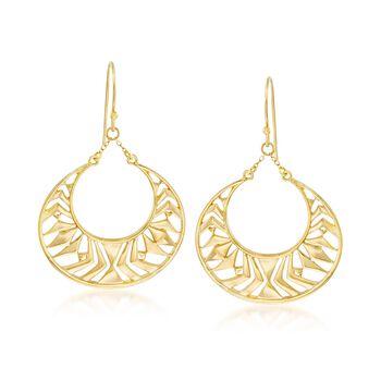 18kt Gold Over Sterling Openwork Drop Earrings, , default