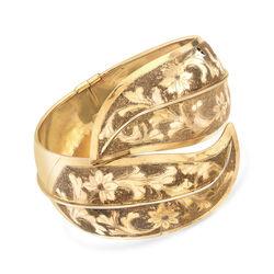 C. 1940 Vintage 18kt Yellow Gold Floral Engraved Bangle Bracelet , , default