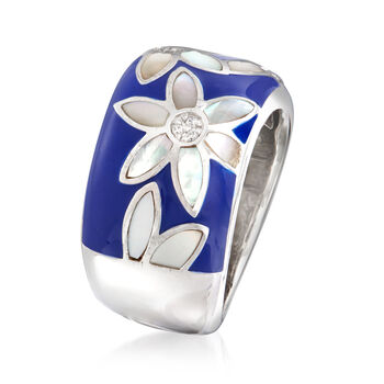 """Belle Etoile """"Moonflower"""" Blue Enamel and Mother-Of-Pearl Ring with CZ Accents in Sterling Silver. Size 7"""