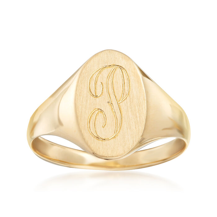 14kt Yellow Gold Single Initial Oval Signet Ring, , default